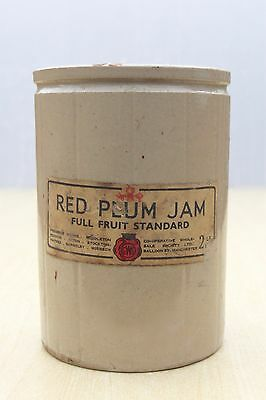 VINTAGE 1930s CO-OPERATIVE SOCIETY ORIGINAL LABELLED RED PLUM 2lb SIZE STONE JAR