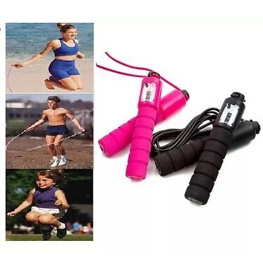 Gym Boxing Fitness Workout Skipping Rope Exercise Rope With Counter Jump Speed *