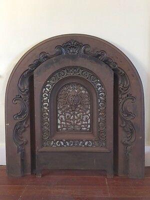 Antique Ornate Cast Iron Fireplace Cover & Surround -signed W & N Jackson