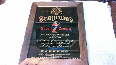 Vintage Seagram's 7 Wooden Framed Bar Sign