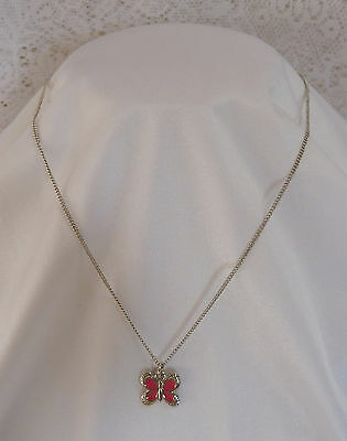 "Beautiful Vintage Pendant Necklace Very Pretty Pink Enamel Butterfly 18"" Chain"