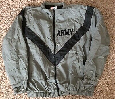 US Army Military Physical Training Fitness PT Uniform Top Sweat Jacket Med-Long
