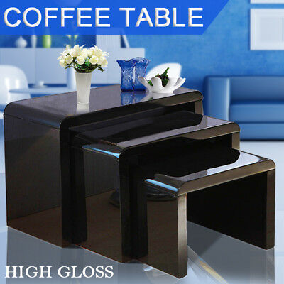 Nest of 3 High Gloss Black Curved Coffee Table Side Tables Living Room Lounge