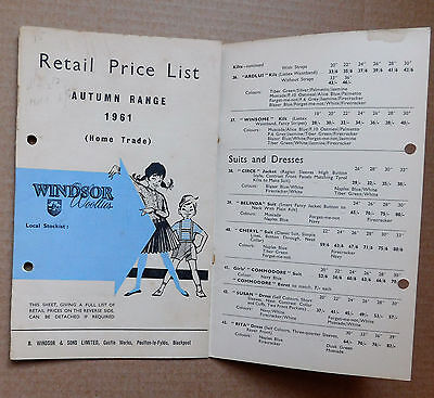 Vintage 1961 catalogue price list Windsor Woollies 1960s childrens fashion e