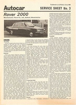 Service Sheet for Rover 2000 (P6)  - Autocar Supplement 1969