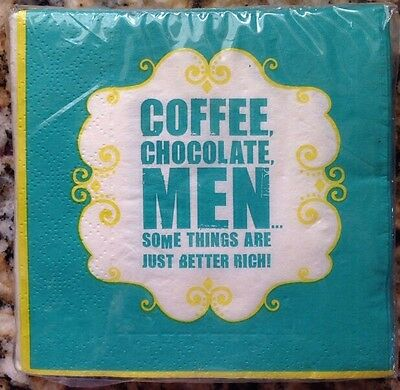 DESIGN FOCUS Set of 40 Cocktail Beverage Paper Napkins - Coffee Chocolate Men