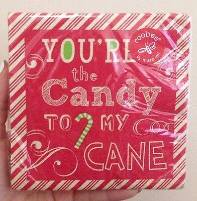 NIP Roobee mara-mi Cocktail Paper Napkins 20 Count You're The Candy To My Cane