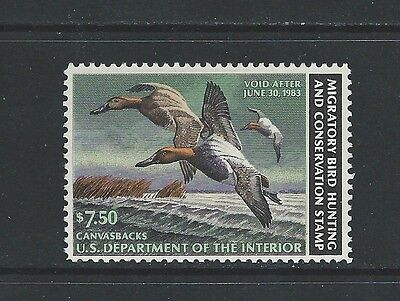 United States - #rw49  - $7.50 Duck Stamp (1982) Mnh Canvasbacks Hunting