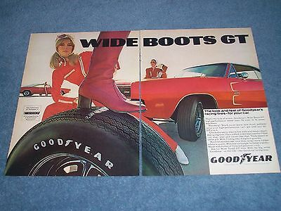 1969 Goodyear Wide Boots GT Tires Vintage 2pg Ad with a 1969 Hemi Charger