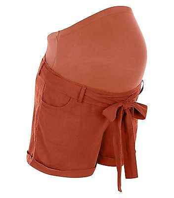 New Look Maternity Stone Over Bump Belted Shorts Size 10