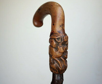 Antique German Black Forest Hunt Wood Carving Walking Cane Stag Doe Deer Relief