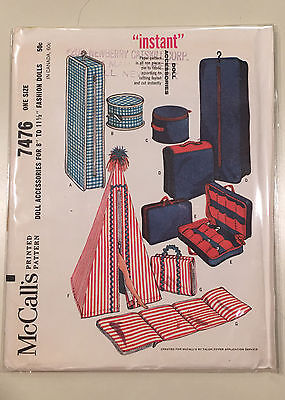 """Vintage McCall's 7476 Fashion Doll Accessories Clothes Pattern ©1964 8-11.5"""""""" FF"""
