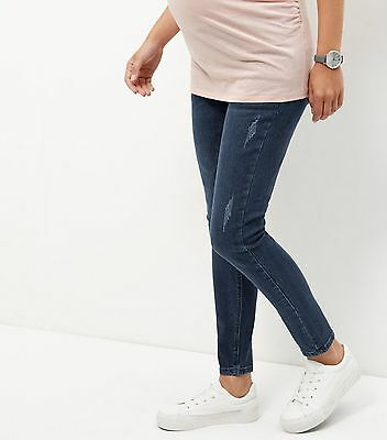NEW Over The Bump Maternity Size 10 Navy Womens Skinny Jeans Denim