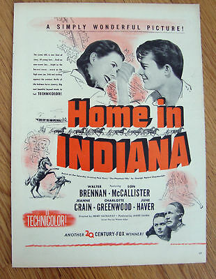 1944 Movie Ad Home in Indiana Brennam McCallister Haver