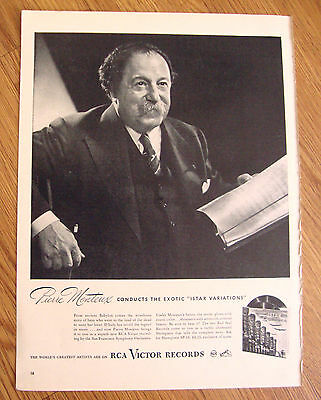 1946 RCA Victor Records Ad Conductor Pierre Monteux Conducts Istar Variations