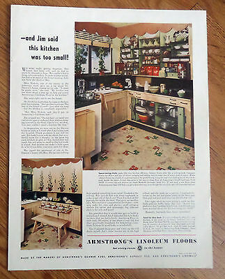 1947 Armstrong's Linoleum Floors Ad A Kitchen Theme