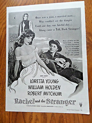 1948 Movie Ad Rachel  the Stranger Young Holden Mitchum