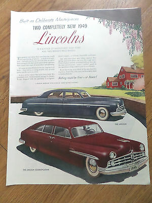 1949 The Lincoln & Lincoln Cosmopolitan Ad Built as Deliberate Msterpieces