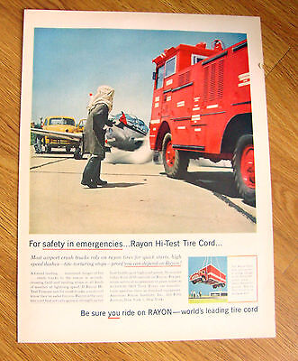 1956 Rayon Tire Ad   For Safety in Emgergencies Airports Trucks