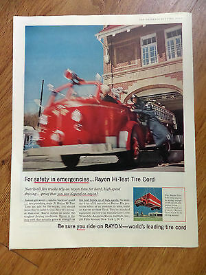 1956 Rayon Tire Ad   Firetruck at Hartsdale