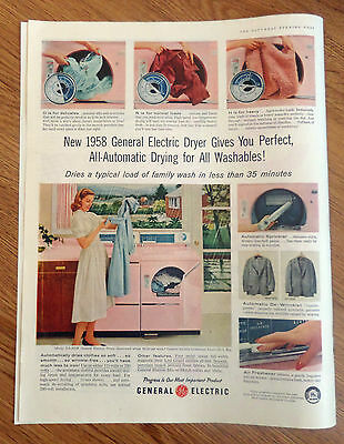 1958 GE General Electric Dryer Ad  All Automatic Drying