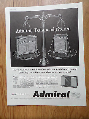 1959 Admiral Stereo Ad Has Balanced Dual Channel Sound