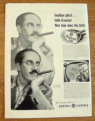 1953 GE TV Picture Tube Ad Movie Hollywood Star Groucho Marx
