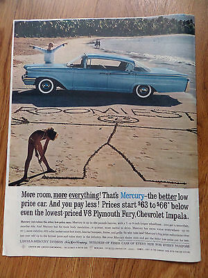 1960 Mercury Monterey Ad on the Beach More Room More Everything
