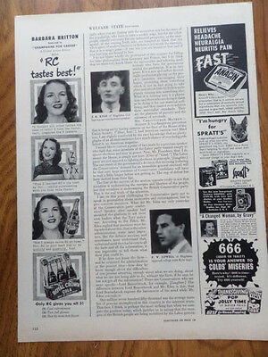 1949 RC Royal Crown Cola Ad Movie Star Barbara Britton