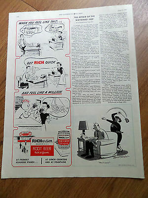 1953 Richardson Root Beer Ad Get Rich Quick & Feel Like A Million