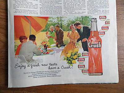 1960 Orange Crush Soda Pop Bottle Ad Party Theme Fresh New Tast Have a CRUSH