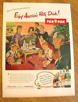 1952 Part-T-Pak Beverages Soda Pop Ad  Christmas Theme