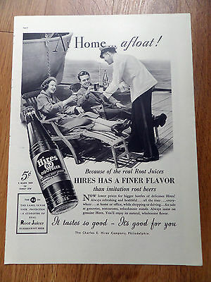 1937 Hires Root Beer Ad  Couple on a Cruise Ship Boat