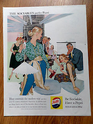 1959 Pepsi Cola Soda Ad They Entertain the Modern Way