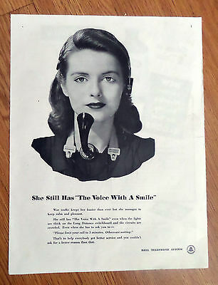 1943 Bell Telephone Ad Voice with a Smile   Phone Operator