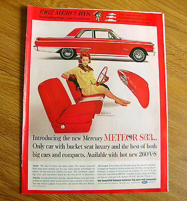 1962 Mercury Meteor S-33 Ad  Only Car with Bucket Seat Luxury