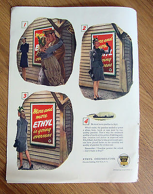 1944 Ethyl Gasoline Ad WW II Theme Must Have Gasoline to Fight