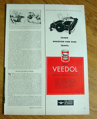 1951 Veedol Motor Oil Ad 2 Place Competition Car