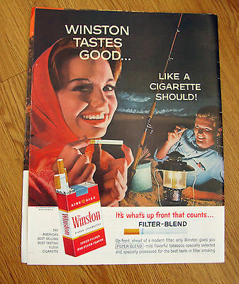 1962 Winston Cigarette Ad Couple Night Fishing on the Beach