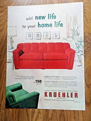 1952 Kroehler Furniture Ad Add New Life to Home Life