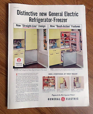 1957 GE General Electric Refrigerator-Freezer Ad New Touch-Action Features