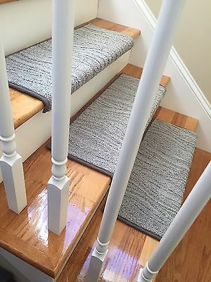"""27"""" TRUE Bullnose™ Stair Tread Carpet Step Cover Grey Wave Stainmaster Nylon"""