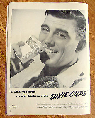 1947 Dixie Cup Ad   A Winning Service   Tennis Theme