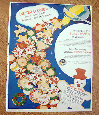 1952 American Diary Association Ad  Butter Cookies at Christmas Time