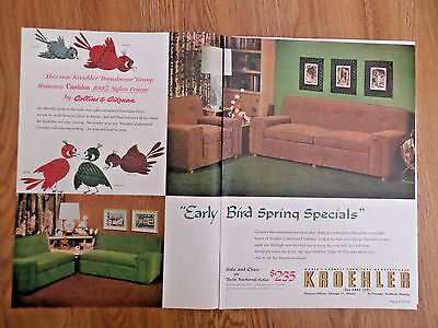 1954 Kroehler Furniture Ad Sofa Chair Twin Sectional
