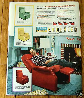 1956 Kroehler Furniture Ad Relaxer Chair Christmas