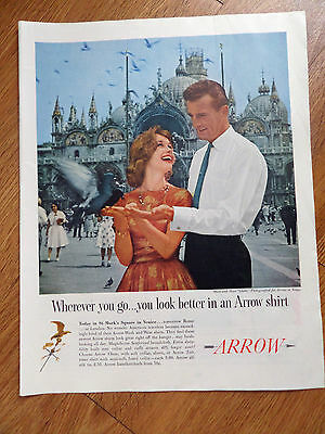 1960 Arrow Shirts Ad Photographed in St. Mark's Square in Venice Italy