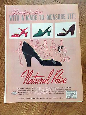 1952 Wohl Shoes Ad  Natural Poise Lady Shoes