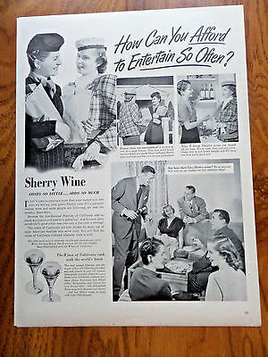 1949 Wines of California Ad Entertaining Folks