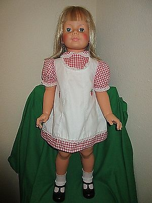 35 inch G-35 Ideal Blonde Patti Playpal Doll in Original Pinafore & Shoes